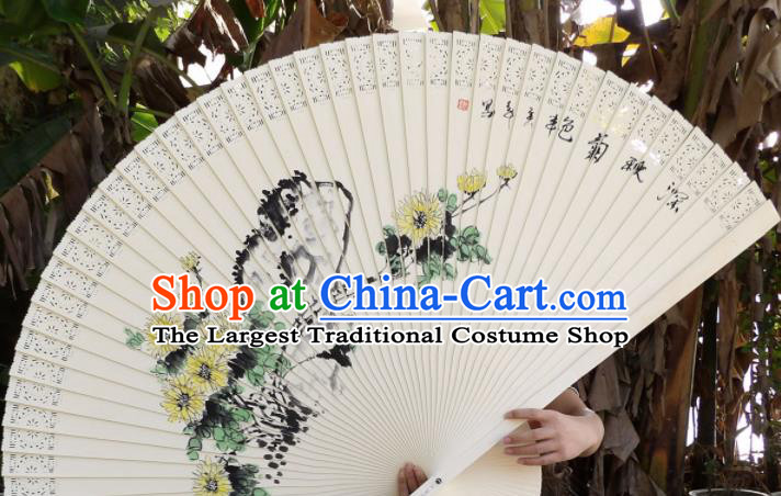 Chinese Traditional Wood Fans Decoration Crafts Handmade Printing Chrysanthemum Folding Fans