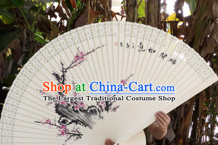 Chinese Traditional Wood Fans Decoration Crafts Handmade Printing Plum Blossom Folding Fans