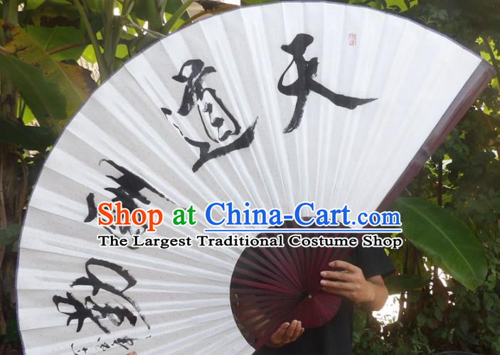 Chinese Traditional Decoration Crafts Red Wood Frame Folding Fans Ink Painting Calligraphy Paper Fans
