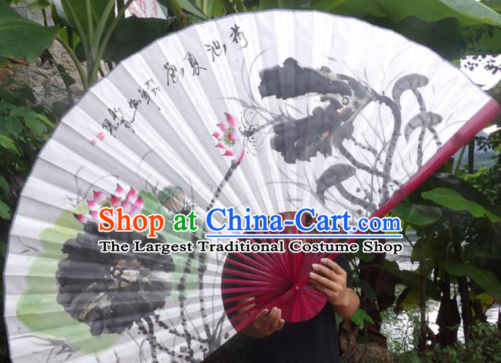 Chinese Traditional Fans Decoration Crafts Ink Painting Lotus Folding Fans Paper Fans