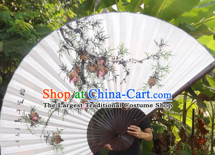 Chinese Traditional Fans Decoration Crafts Ink Painting Pomegranate Folding Fans Paper Fans