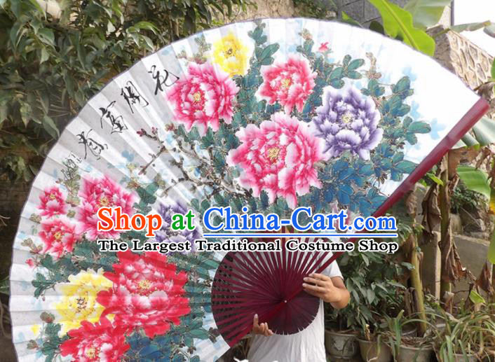 Chinese Traditional Fans Decoration Crafts Red Frame Hand Painting Peony Folding Fans Paper Fans