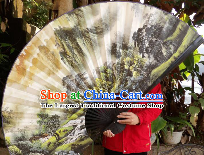 Chinese Traditional Fans Decoration Crafts Hand Ink Painting Landscape Black Frame Folding Fans Paper Fans