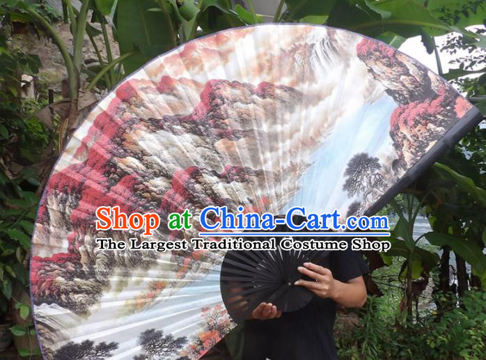 Chinese Traditional Fans Decoration Crafts Black Frame Ink Painting Mountain View Folding Fans Paper Fans
