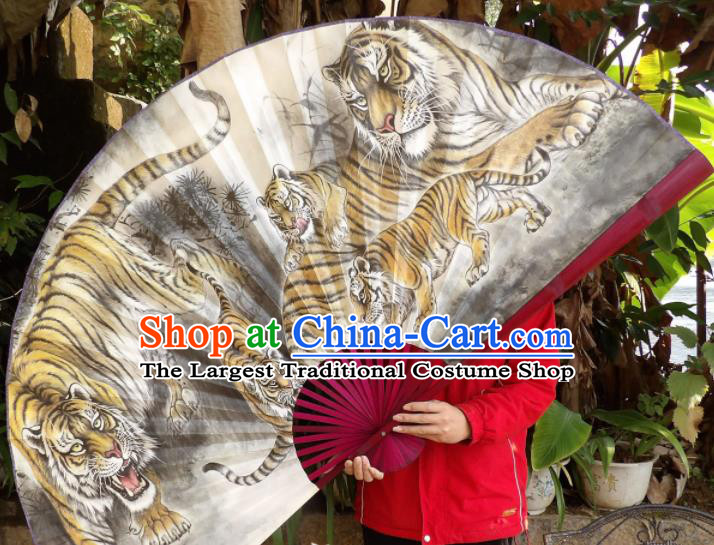 Chinese Traditional Fans Decoration Crafts Painting Tigers Red Frame Folding Fans Paper Fans