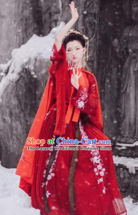 Traditional Chinese Tang Dynasty Palace Lady Dance Costumes Ancient Imperial Consort Red Hanfu Dress for Women