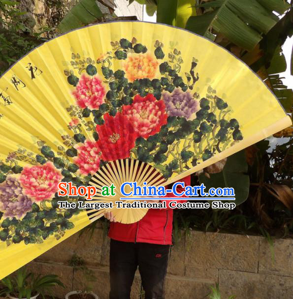 Chinese Traditional Handmade Yellow Paper Fans Decoration Crafts Ink Painting Peony Folding Fans