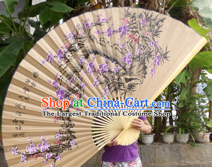 Chinese Traditional Handmade Paper Fans Decoration Crafts Ink Painting Purple Plum Blossom Wood Frame Folding Fans