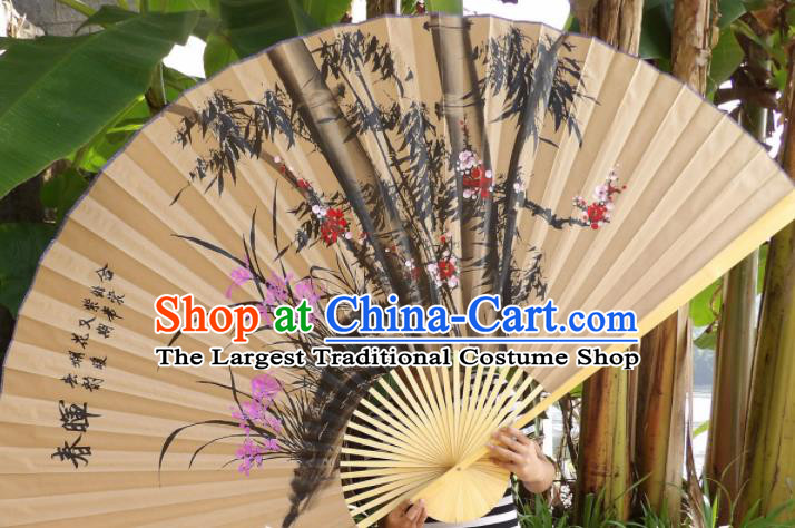 Chinese Traditional Handmade Paper Fans Decoration Crafts Ink Painting Plum Blossom Orchid Bamboo Wood Frame Folding Fans