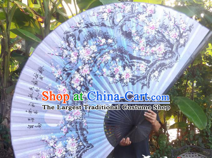 Chinese Traditional Handmade Blue Silk Fans Decoration Crafts Ink Painting Plum Blossom Black Frame Folding Fans