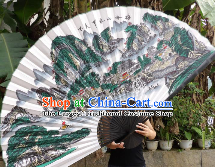 Chinese Traditional Handmade Silk Fans Decoration Crafts Ink Painting Guilin Scenery Black Frame Folding Fans
