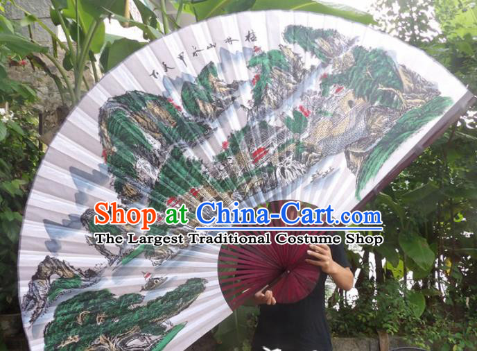 Chinese Traditional Handmade Silk Fans Decoration Crafts Ink Painting Guilin Scenery Red Frame Folding Fans