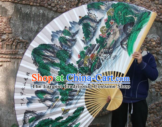 Chinese Traditional Handmade Silk Fans Decoration Crafts Ink Painting Guilin Scenery Wood Frame Folding Fans
