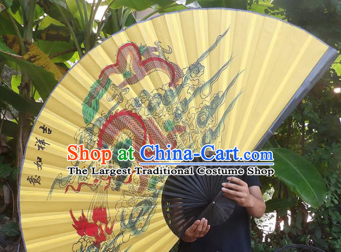 Chinese Traditional Handmade Yellow Silk Fans Decoration Crafts Ink Painting Dragon Black Frame Folding Fans