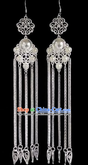 Chinese Ethnic Jewelry Accessories Mongolian Minority Nationality Long White Earrings for Women