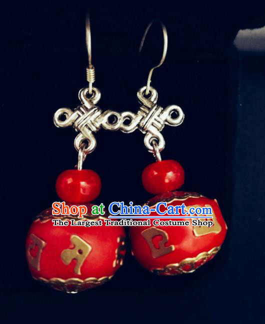 Chinese Ethnic Jewelry Accessories Mongolian Minority Nationality Red Earrings for Women