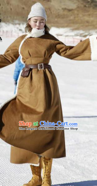 Chinese Traditional Mongol Ethnic Costume Mongolian Minority Nationality Khaki LaLambswool Coat for Women