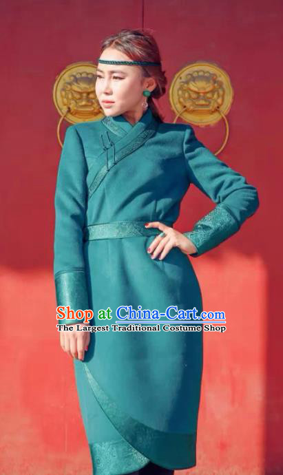 Chinese Mongol Minority Ethnic Costume Traditional Mongolian Green Woolen Coat for Women