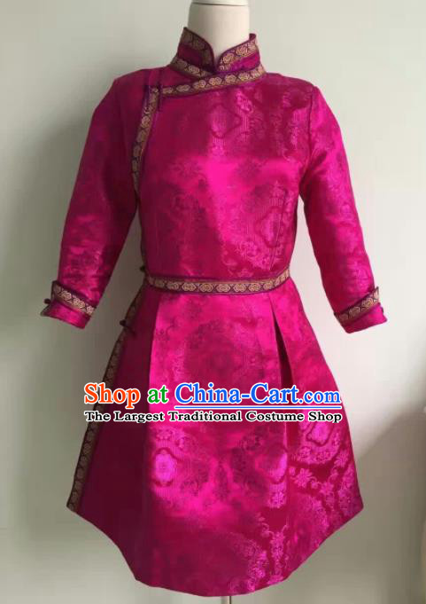 Chinese Mongol Minority Ethnic Costume Traditional Mongolian Rosy Brocade Dress for Women