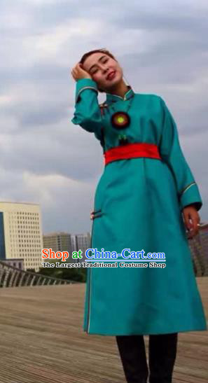 Chinese Mongol Minority Ethnic Costume Traditional Green Brocade Mongolian Robe for Women