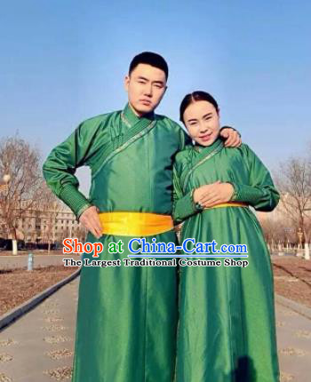Chinese Mongol Minority Ethnic Costume Traditional Green Brocade Mongolian Robe for Women for Men