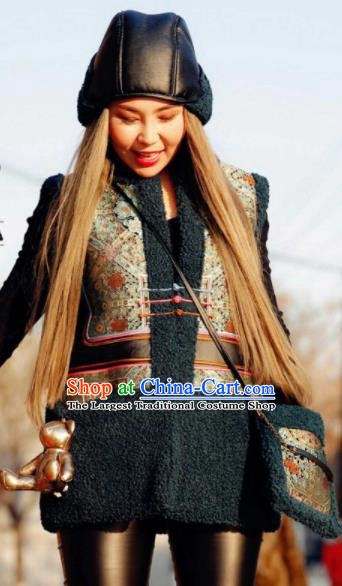 Chinese Traditional Mongol Ethnic Costume Mongolian Minority Nationality Black Vest for Women