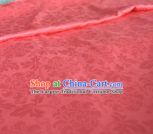 Asian Chinese Traditional Twine Peony Pattern Design Pink Brocade Fabric Silk Fabric Chinese Fabric Material