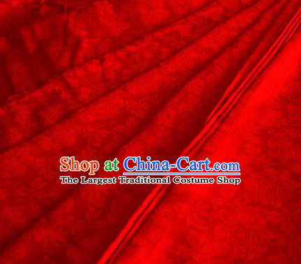 Asian Chinese Traditional Twine Peony Pattern Design Red Brocade Fabric Silk Fabric Chinese Fabric Material