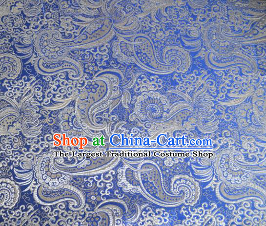 Asian Chinese Traditional Palace Pattern Design Blue Brocade Fabric Silk Fabric Chinese Fabric Material