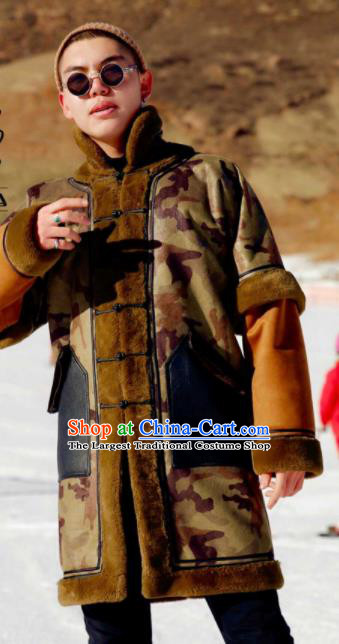 Chinese Traditional Mongol Ethnic Costume Mongolian Minority Nationality Suede Fabric Camouflage Coat for Men