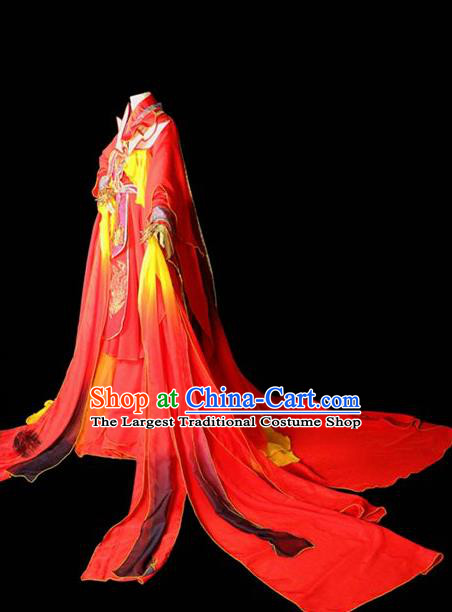 Traditional Chinese Cosplay Costumes Ancient Princess Embroidered Red Hanfu Dress for Women