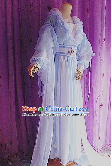 Traditional Chinese Cosplay Costumes Ancient Princess Embroidered Blue Hanfu Dress for Women