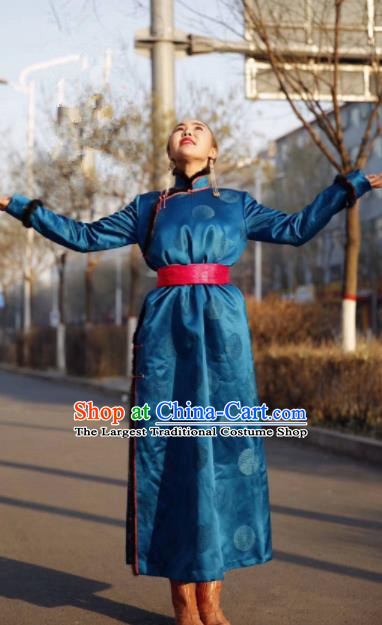 Chinese Traditional Mongol Ethnic Female Costume Mongolian Minority Nationality Blue Robe for Women