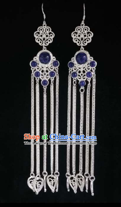 Chinese Ethnic Jewelry Accessories Mongolian Minority Nationality Long Blue Earrings for Women