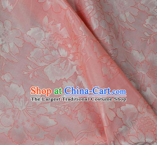 Asian Chinese Traditional Paeonin Pattern Pink Cotton Fabric Chinese Costume Fabric Material