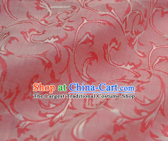 Asian Chinese Traditional Pattern Design Pink Brocade Fabric Chinese Costume Silk Fabric Material