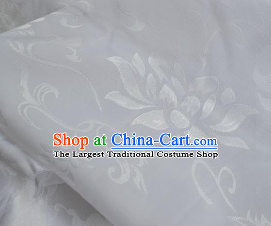 Asian Chinese Traditional Fabric Lotus Pattern Design White Brocade Fabric Chinese Costume Silk Fabric Material