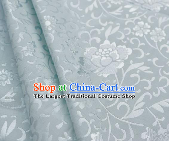 Asian Chinese Traditional Fabric Peony Pattern Design White Brocade Fabric Chinese Costume Silk Fabric Material