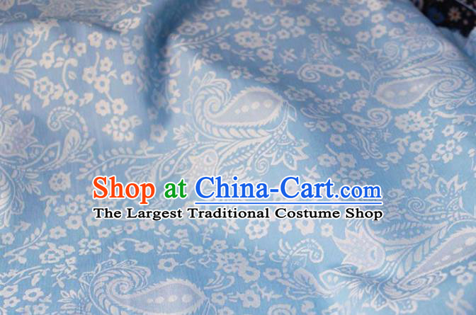 Asian Chinese Fabric Traditional Classical Pattern Design Blue Brocade Fabric Chinese Costume Silk Fabric Material