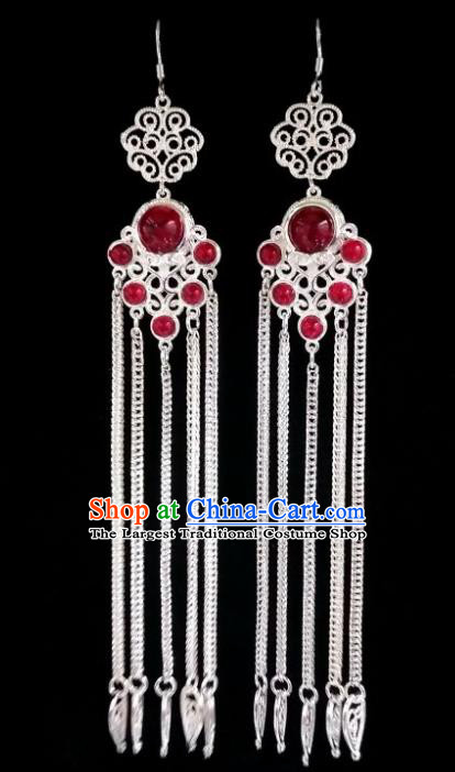 Chinese Ethnic Jewelry Accessories Mongolian Minority Nationality Long Red Earrings for Women