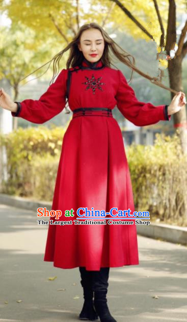 Chinese Traditional Mongol Minority Ethnic Costume Red Wool Mongolian Robe for Women