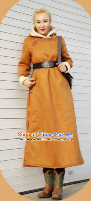 Chinese Traditional Mongol Minority Ethnic Costume Suede Fabric Mongolian Dust Coat for Women