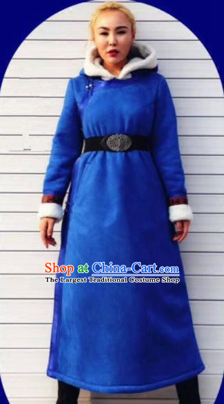 Chinese Traditional Mongol Minority Ethnic Costume Blue Suede Fabric Mongolian Dust Coat for Women