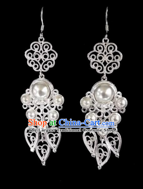 Chinese Ethnic Jewelry Accessories Mongolian Minority Nationality White Beads Earrings for Women