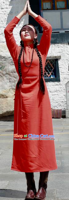 Chinese Traditional Mongol Minority Ethnic Costume Mongolian Red Dress for Women