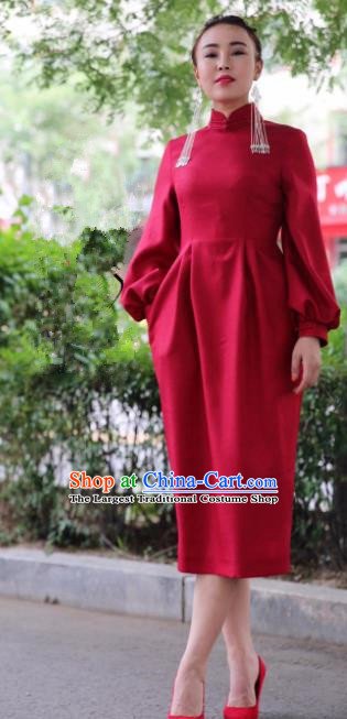 Chinese Traditional Mongol Minority Ethnic Costume Mongolian Red Qipao Dress for Women