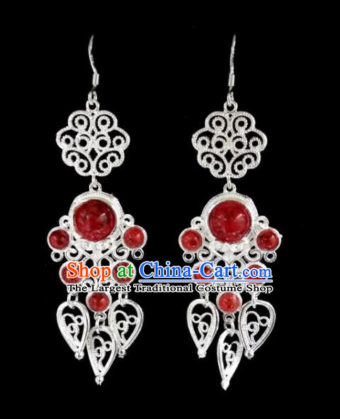 Chinese Ethnic Jewelry Accessories Mongolian Minority Nationality Red Beads Earrings for Women