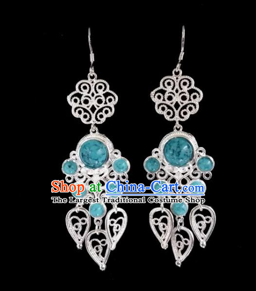 Chinese Ethnic Jewelry Accessories Mongolian Minority Nationality Blue Beads Earrings for Women