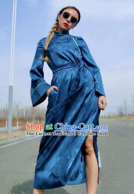 Chinese Traditional Mongol Ethnic Costume Mongolian Minority Nationality Blue Robe for Women
