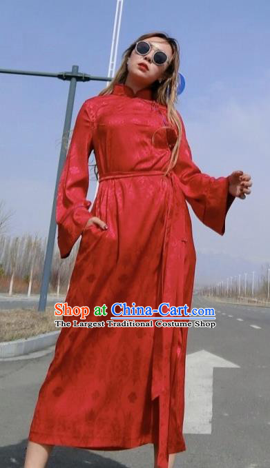 Chinese Traditional Mongol Ethnic Costume Mongolian Minority Nationality Red Robe for Women
